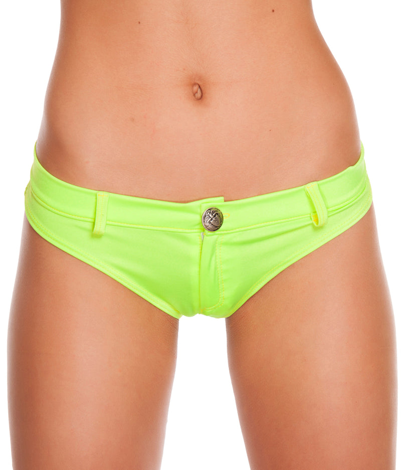 Assorted Solid Colors Extreme Booty Shorts Yellow Front RMSH3226