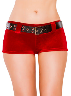 Red Velvet Shorts with Belt RMSH3229 Front