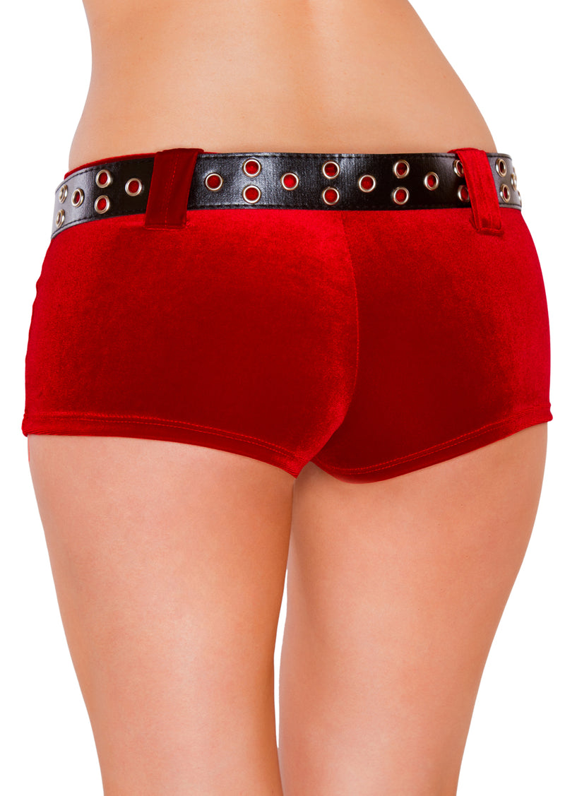 Red Velvet Shorts with Belt RMSH3229 back