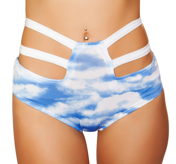 High Waisted Strappy Shorts RM-SH3256 Front Cloud