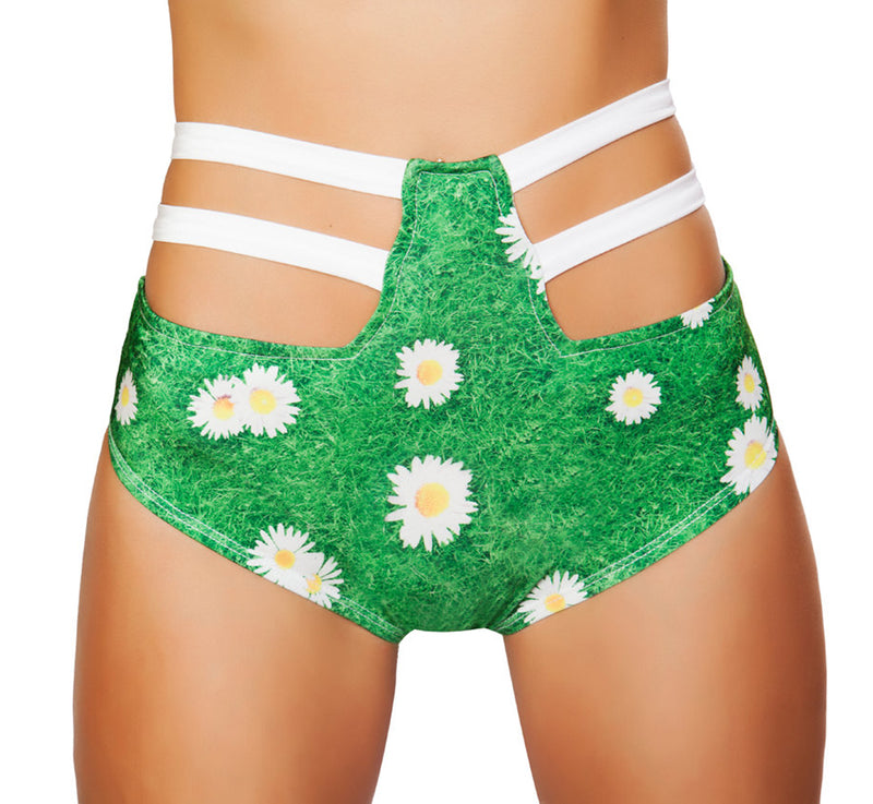 High Waisted Strappy Shorts RM-SH3256 Front Grass