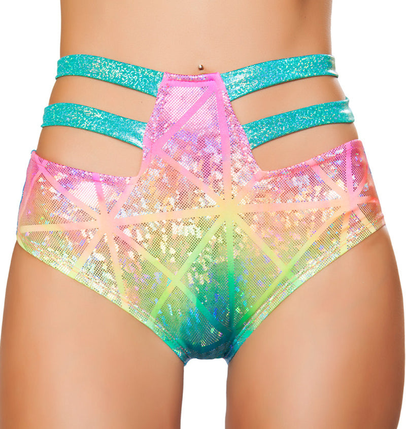 High Waisted Strappy Shorts RM-SH3256 Front Laser