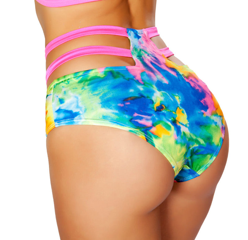 High Waisted Strappy Shorts RM-SH3256 Back Tie Dye