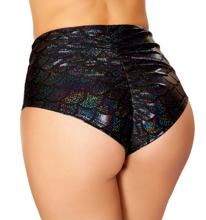 High Waisted Pucker Back Mermaid Shorts RM-SH3313 Back black