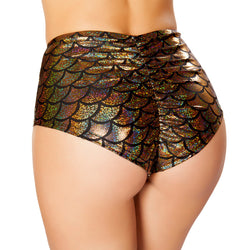 High Waisted Pucker Back Mermaid Shorts RM-SH3313 Back Gold