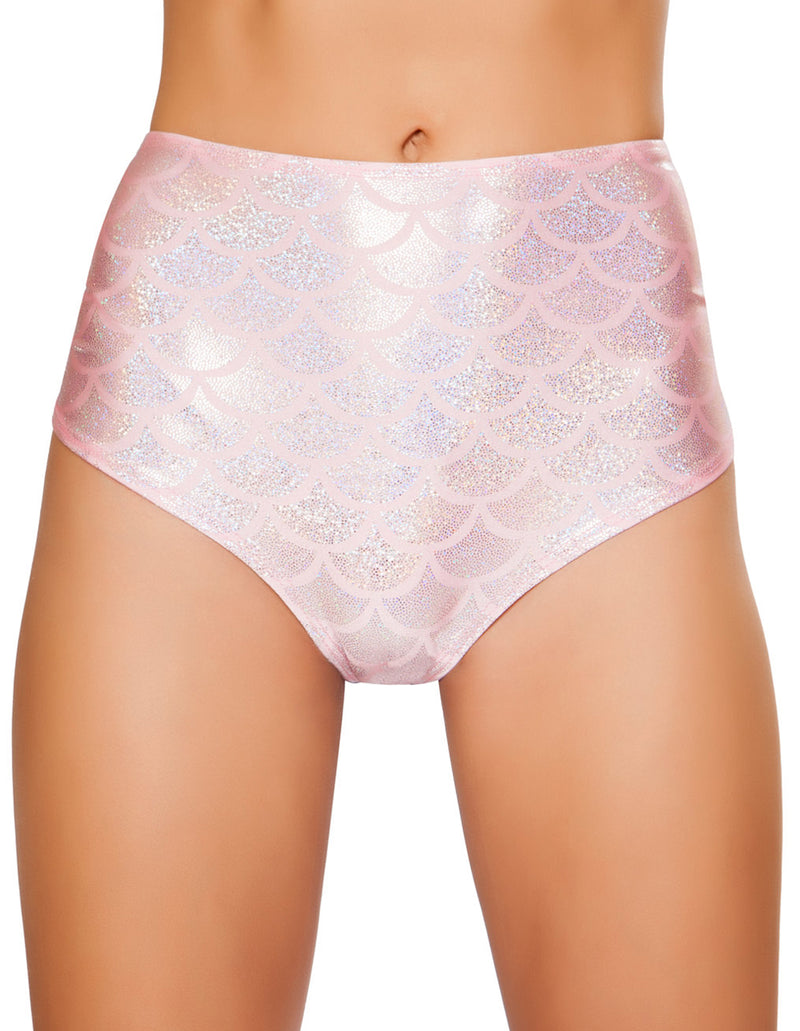 High Waisted Pucker Back Mermaid Shorts RM-SH3313 front pink