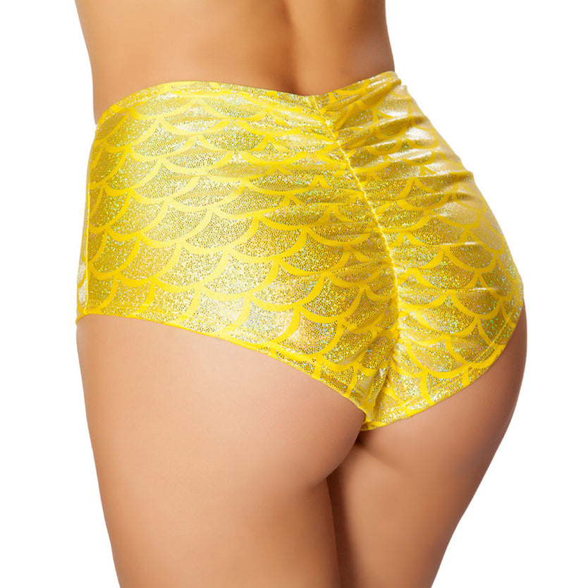 High Waisted Pucker Back Mermaid Shorts RM-SH3313 Back yellow