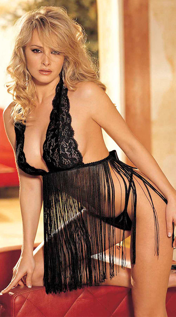 Stretch Lace Babydoll Set HOT-96110HON black