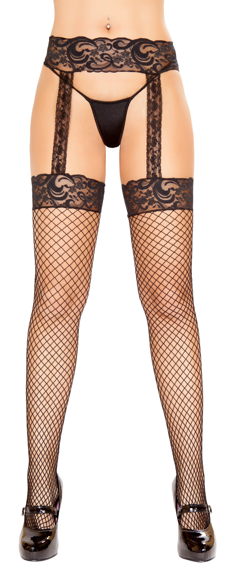 RM-ST104 Fishnet Stocking with Lace Garter Belt