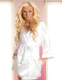 Flawless Satin Robe White Front STM9282