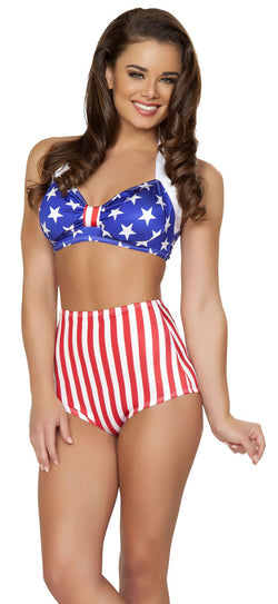 Flag High Waisted Shorts Main RMSH3090AF