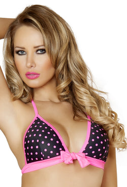 Black And Pink Polka Tie Front Halter Top RMT3120PNK