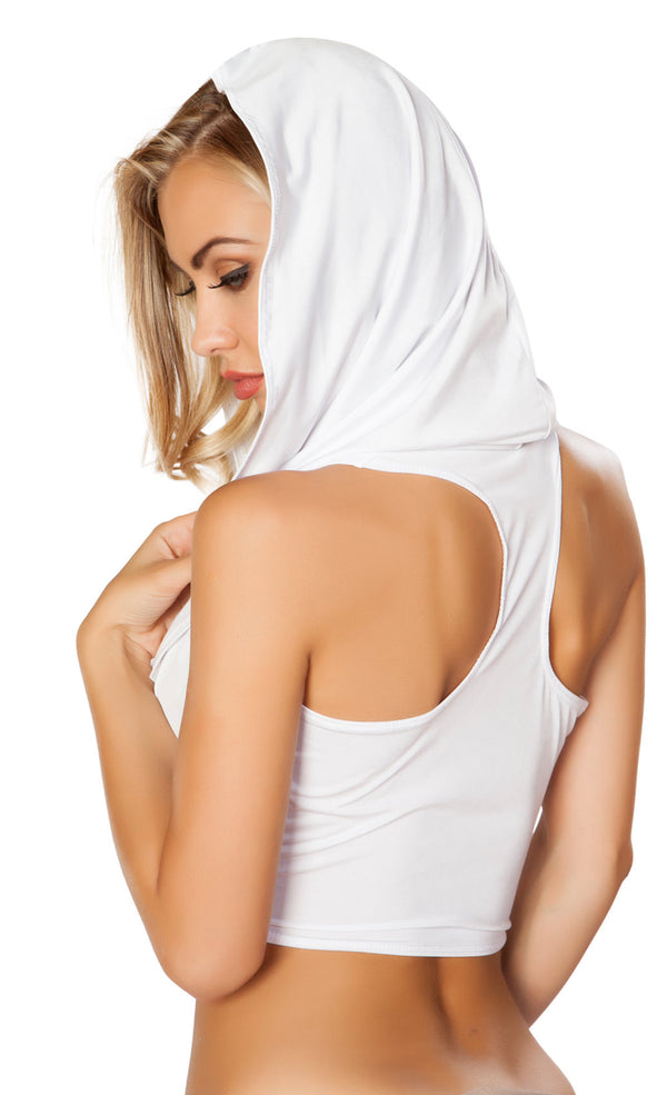 RMT3317 Hooded cowl neck crop top White Back