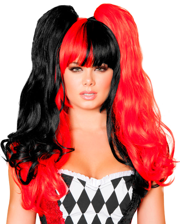 Red And Black Pigtail Wig Front RMW101