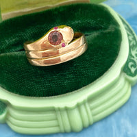 Ruby and Tourmaline Snake Ring (4723207569459)