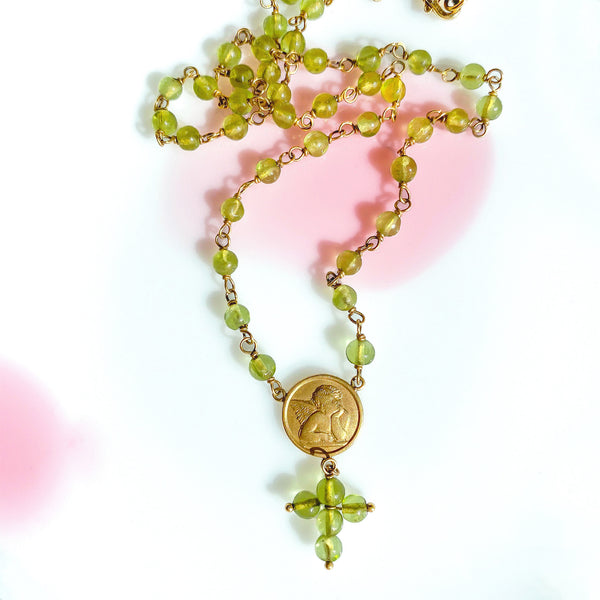 Peridot Angel Rosary Necklace (4458573594675)