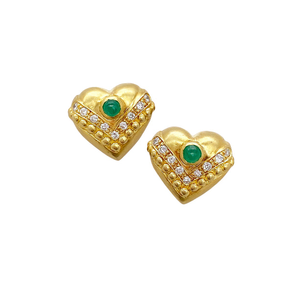 Emerald and Diamond Heart Studs (4736399540275)