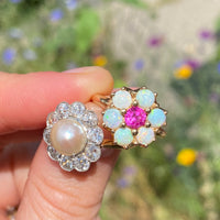 Old Mine Cut Diamond and Pearl Flower Ring (4599110139955)