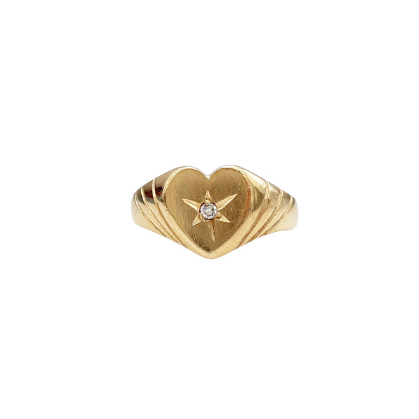 Diamond Heart Signet Ring (4736402653235)