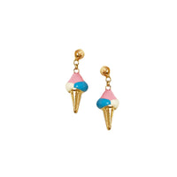 Enamel Ice Cream Cone Earrings (4458464411699)