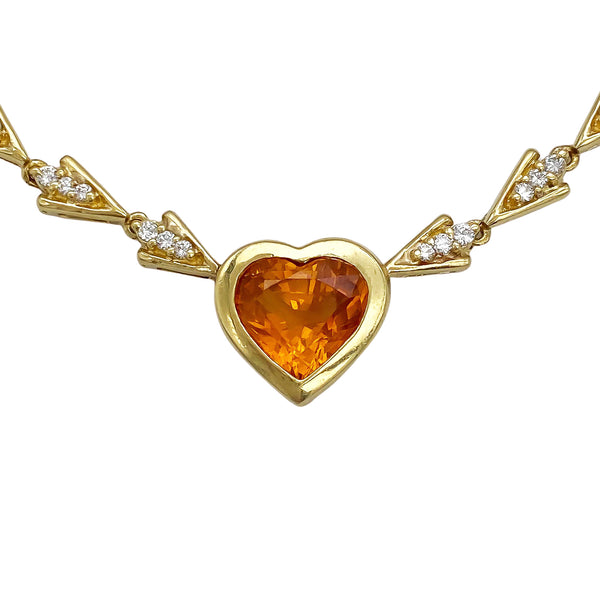 Orange Sapphire Heart Necklace (4730507264051)