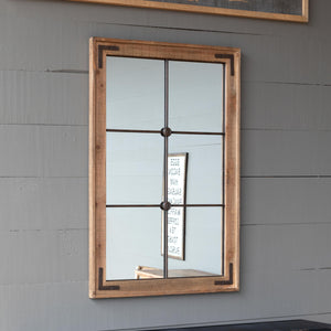 Wooden Framed Warehouse Window Mirror