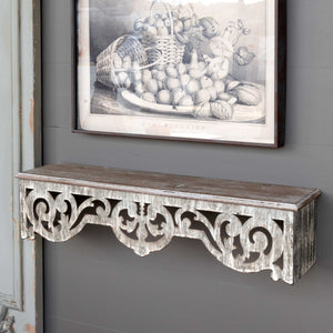 Wood & Metal Filigree Wall Shelf