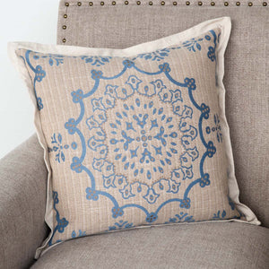 French Blue Edge Hill Down Pillow