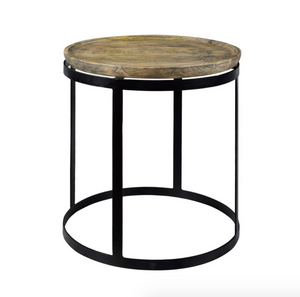 Wood and Metal Round End Table