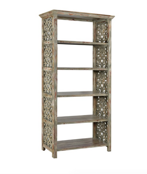 Wood Carved Side Panel Bookcase