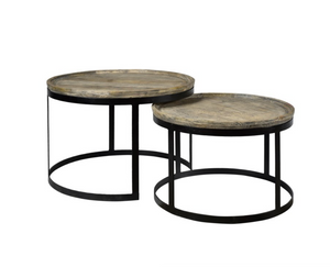 Wood and Metal Round Cocktail Tables