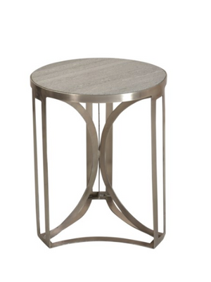 Antique Nickel and Grey Marble Accent Table