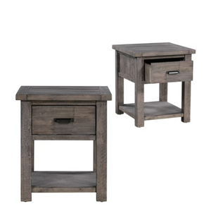Recycled Pine Distressed Grey 1 Drawer Rectangle End Table