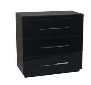 Mercury Black Glass 3 Drawer Chest