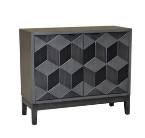 Geometric Block Veneer 2 Door Cabinet