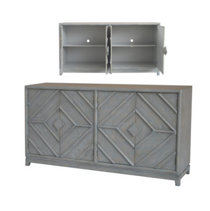 4 Door Diamond Design Grey Oak Sideboard