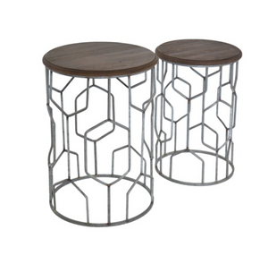 Set of Tables Geometric Metal and Rustic Wood