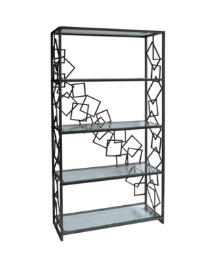 Geometric Gunmetal and Glass Bookcase