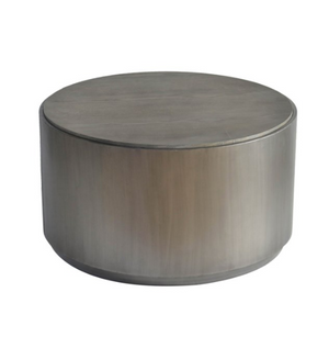 Round Gunmetal Cocktail Table with Grey Oak Top