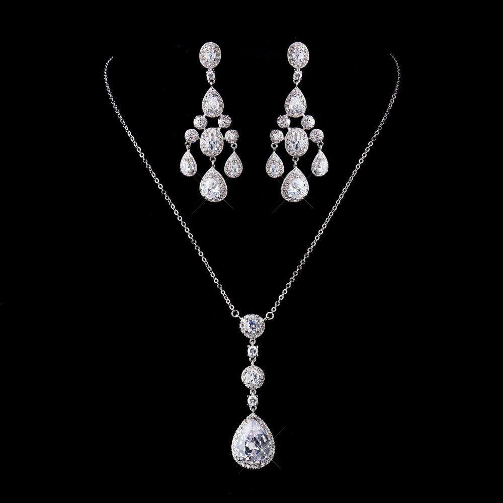 Antique Silver Clear Bridal Necklace Earrings Set SA86238677