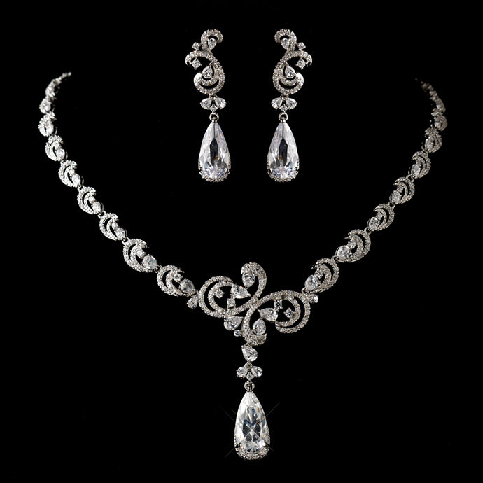 Antique Silver Clear CZ Crystal Necklace & Earrings Jewelry Set SA1313