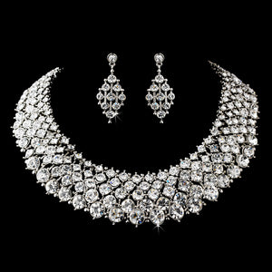 Antique Silver Clear Necklace Earring Set SA1047