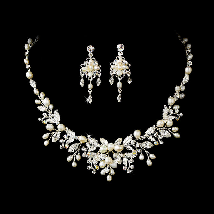 Crystal and Freshwater Pearl Bridal Jewelry Set in Silver or Gold SA6206