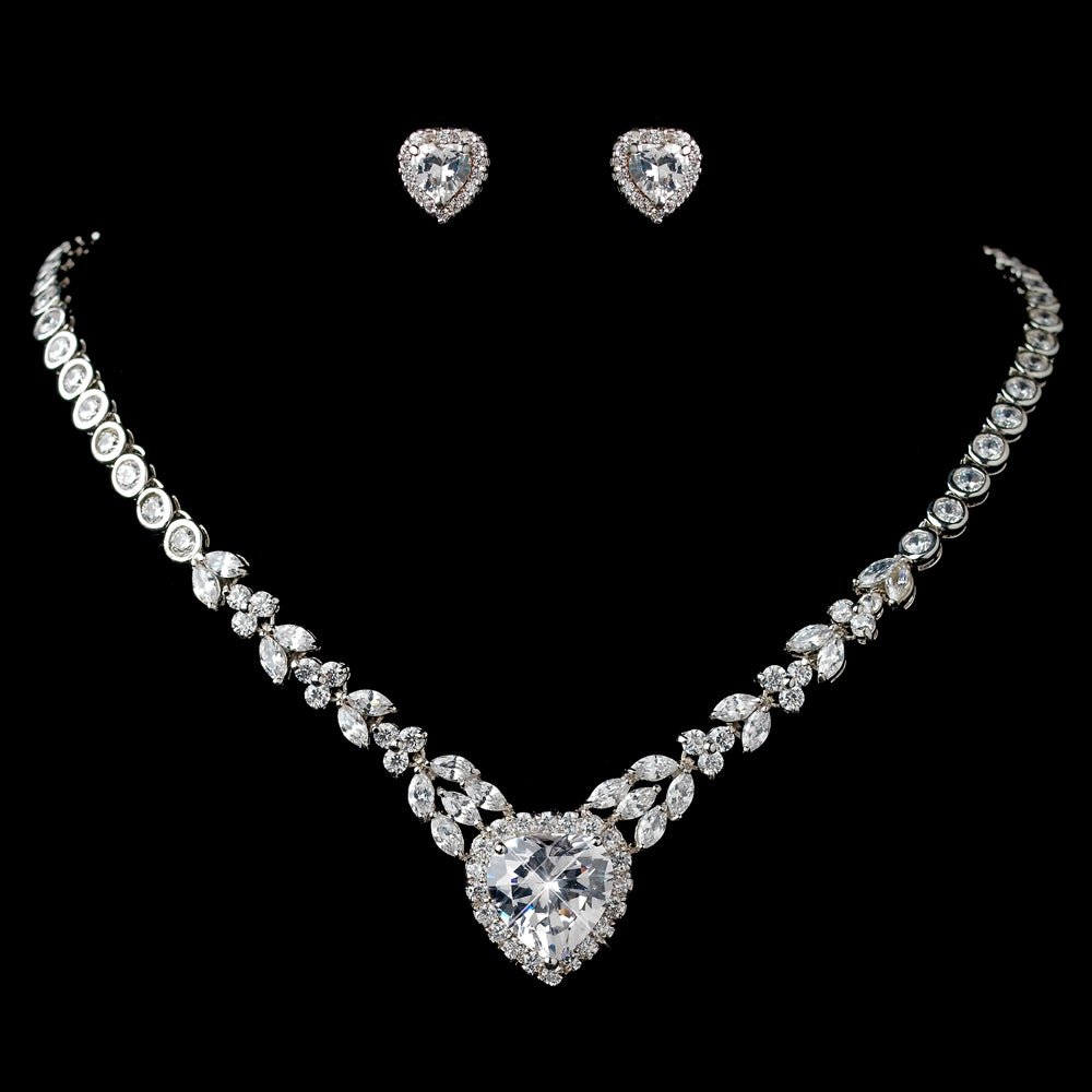 Marquise & Heart CZ Vintage Style Wedding Jewelry Set SA9640