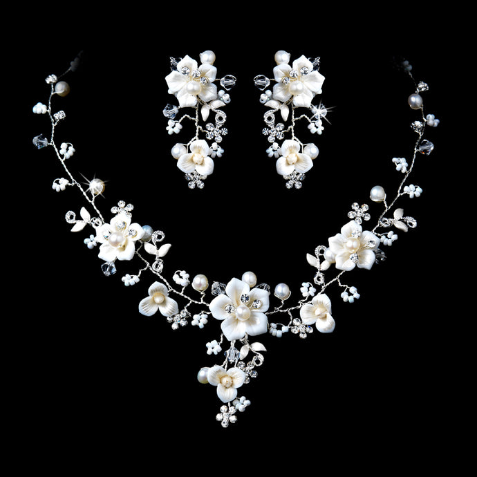 Silver Crystal Porcelain and Pearl Bridal Jewelry Set SA1014