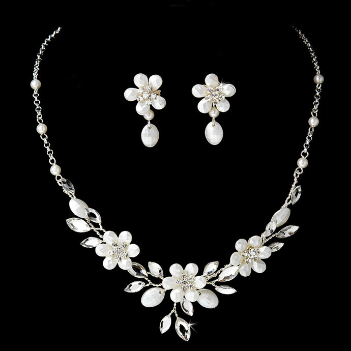 Silver Floral Wedding Jewelry Set SA8309