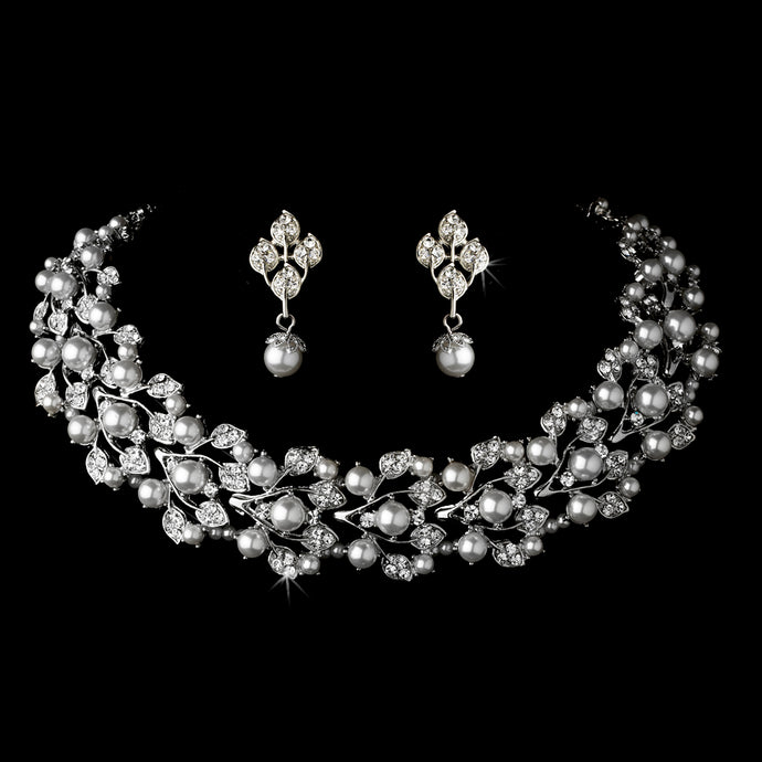 Silver White Vintage Style Necklace and Earrings Set SA969