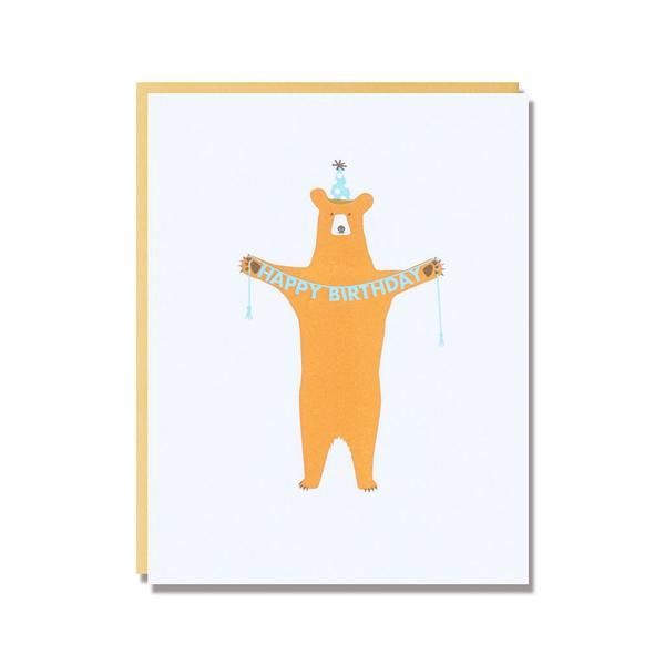 egg press bear birthday card letterpress