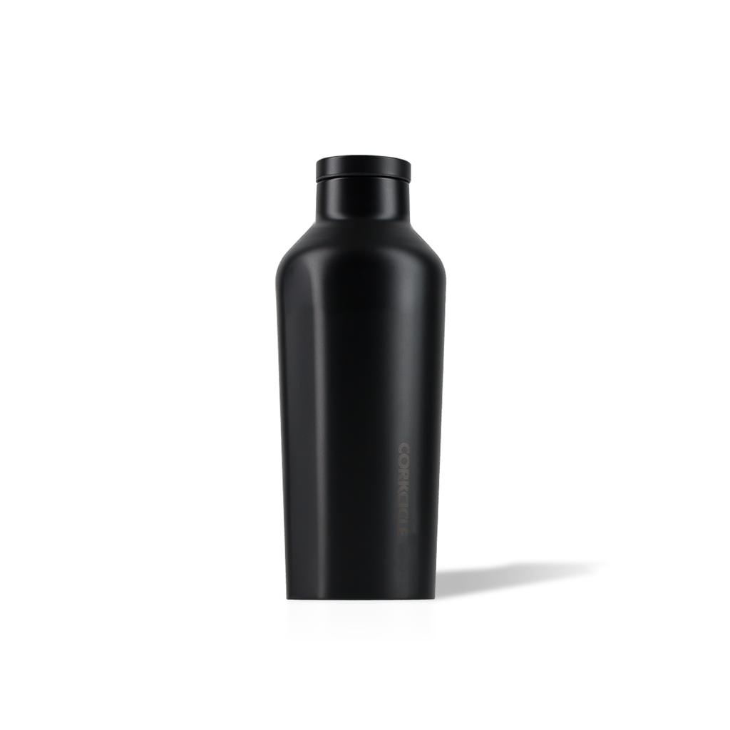 all black Corkcicle insulated bottle