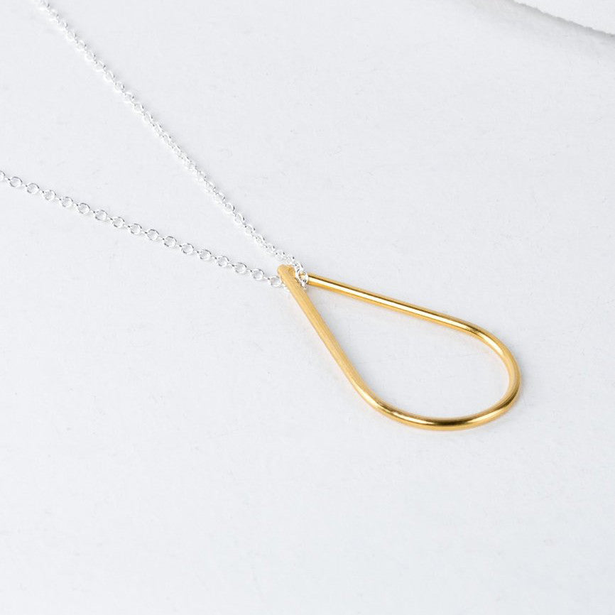 Silver and Gold Teardrop pendant necklace